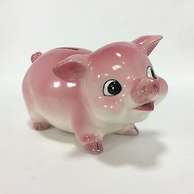 Piggy Bank Vintage Pig Coin Bank Still Made in Japan Pink 7.5 in X 5 inches VTG
