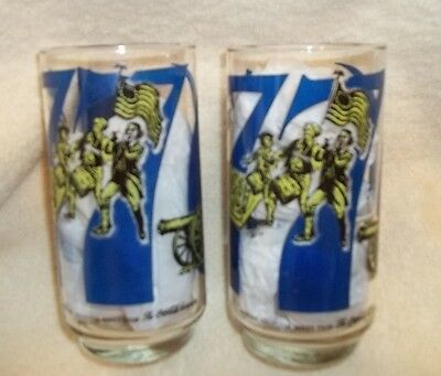 Coca-Cola Glasses bicentennial heritage collection Set of 2, 1976 vintage