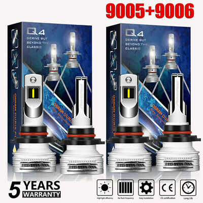 4PCS 9005 H11 LED Total 400W 40000LM Combo Headlight 6000K Cool White Kit Bulbs