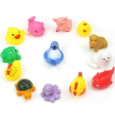 13Pcs Baby Bath Toys Squeaky Rubber Animal Floating Water Kids Funny Toy Tool