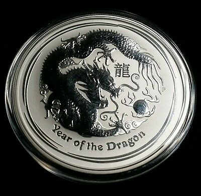 2012 Australia  Lunar Year of the Dragon 2 oz .999 Fine Silver Coin Free S/H!