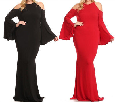 Plus Bell Sleeve Hourglass Mermaid Maxi Dress Cutout Cold Shoulder Gown