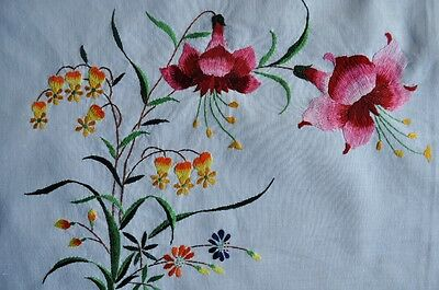 Vintage Hand Embroidered Pillow Shams/Tray Covers - NEW - Set of 2 - Fuchsia