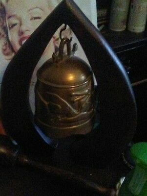 antique CHINESE DRAGON GILT BRONZE RITUAL BELL ON wooden STAND