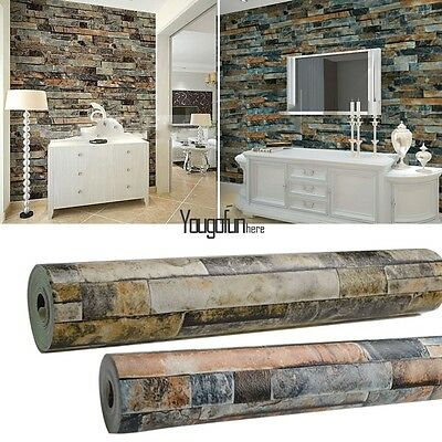 10M Roll Stacked Brick/Stone Wallpaper 3D Look Faux Realistic Vinyl Wall Paper