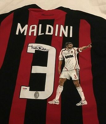 Paolo Maldini Signed AC Milan Soccer Jersey with Painted Picture - RARE JSA PSA