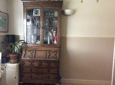 1920/30s Oak Bureau Desk & Bookcase/Glass Cabinet With Drawers