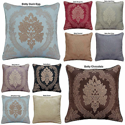 "HOME DECORATION JACQUARD FLORAL FLOWER CUSHION COVERS OR FILLED 18""x18"" FREE P&P"