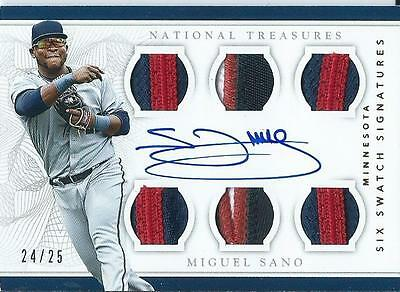 2016 National Treasures Miguel Sano Jersey Patch Auto RC 25 Six Swatch Signature