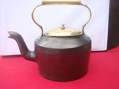 Very Old Genuine Antique Victorian Cast Iron Kettle With Brass Handle And Lid