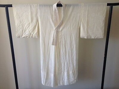 Vintage Japanese White Silk Kimono Woman's Robe One of a Kind Hand Made Antique