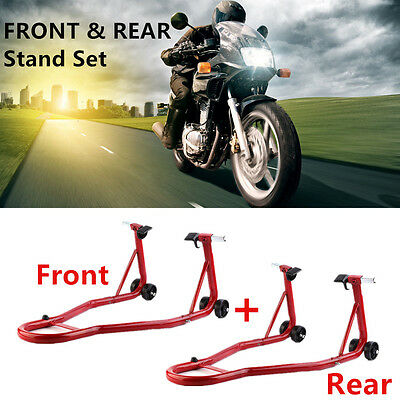 Universal Track Front And Rear Motorcycle Bike Paddock Stand Pair Stands Combo