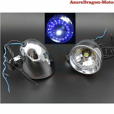 "Motorcycle Custom Driving 4"" LED Angel Eye Fog light Fit Chooper Bobber Touring"