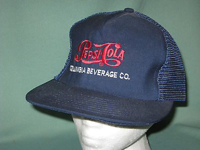 Vintage Pepsi Cola Columbia Beverage Co. Distributor Mesh Snapback Hat