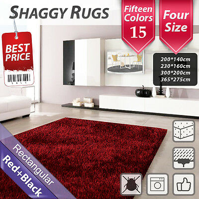 15 colour Shag Shaggy Floor Confetti Rug Carpet Mat Fluffy Rectangle Round Red