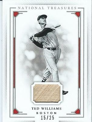 Ted Williams 2016 National Treasures Game Bat Piece /25 Red Sox