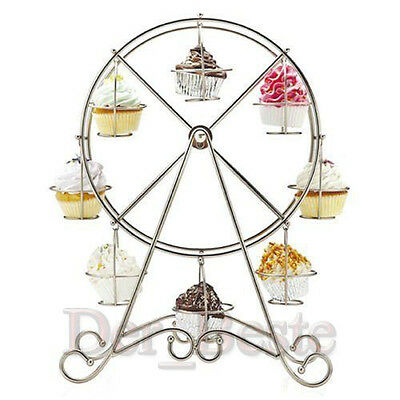 Ferris Wheel Silver Stainless 8 CupCake Stand Holder Wedding Party Cake Shop DE