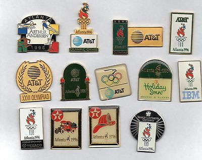 13 nice sponsor pins from Atlanta 1996 summer Olympics - IBM Texaco Andersen +++