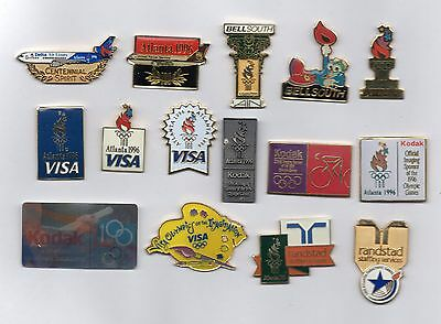 15 nice sponsor pins from Atlanta 1996 summer Olympics - Airplanes VISA Kodak ++