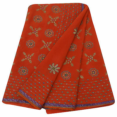 Jahrgang Indisch Saree Georgette Antike Gestickte Orange Stoff Sari 5 Yard