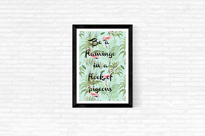 Flamingo Fun Quote Typography Wall Art Print Quote Art Print Home Office Decor