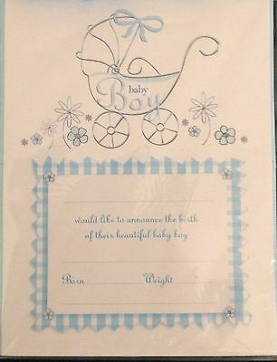 Boy Baby Announcements 2 Packets x 20 Sheets with Envelopes