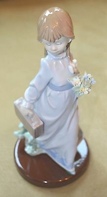 Lladro School Days Figurine Angela #7604 Girl with Flowers Lladro 6th Mark