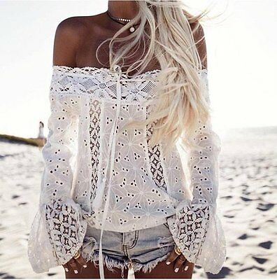 Fashion Women Lady Off Shoulder Long Sleeve Shirt Casual Blouse Loose Lace Tops
