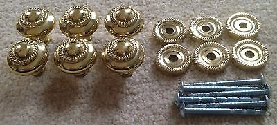 6 x Vintage Style Furniture Door & Drawer Knobs - Metal with Gold Finish