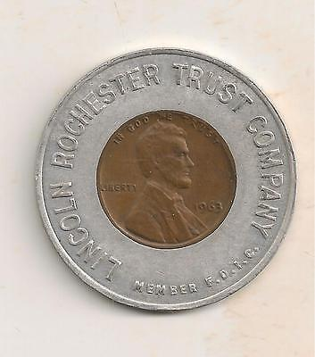 Rochester, Ny 1963 Encased Cent Lincoln Rochester Trust Company