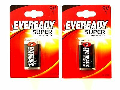 2 X Eveready PP3, 6F22, 9 Volts Heavy Duty Batteries