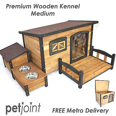 Medium Wooden Pet Dog Kennel Flat Roof Timber Wood Big Outdoor Puppy House Home