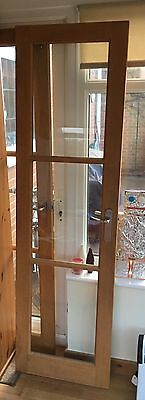 2x Dining Room Doors In Oak Effect Wood With Silver Handles And Glass Panes