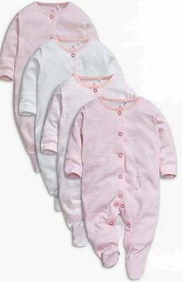 Ex Next Baby Girls Pink 4 Pack Sleepsuits Babygrow Age 0 3 6 9 12 18 24 Months