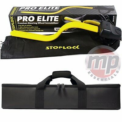 Stoplock Pro Elite Car & Van Yellow Steering Wheel Lock & Carry Case Storage Bag