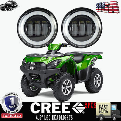 "4.5"" Inch LED HEADLIGHTS CONVERSION KIT- PAIR FIT12-16 KAWASAKI BRUTE FORCE 750"