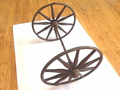 Antique Baby Buggy Carriage Wagon Wheels Axle Stroller Rustic 14""