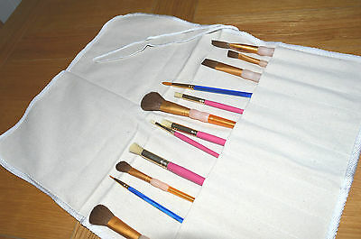 Cotton Storage Canvas Roll Up Pen Pencil Brush Sketching  Holder