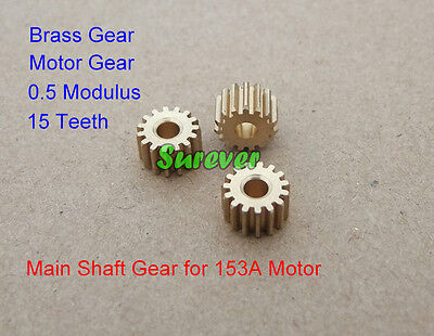Main Shaft Metal Brass Gear Motor Gear 15 Teeth 0.5 Modulus 3mm Shaft Toy Parts