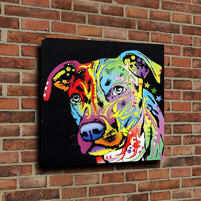 Canvas Prints Oil Painting Angel Pit Bull Dog Dogs Wall Decor Unframed 16''x16''