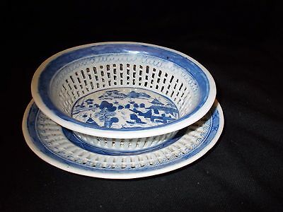 Antique Canton/Chinese Export China Riticulated Bowl & Platter Great Condition