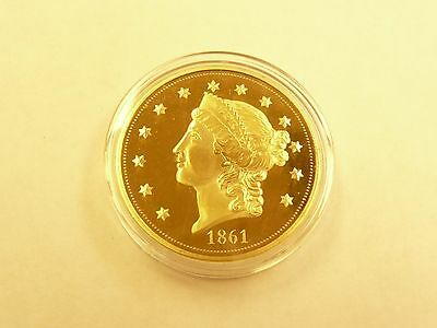 American Mint Liberty Head Double Eagle 1861 Proof Coin 24kt Gold Plated L@@K
