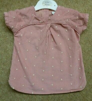 Baby girls next pink cord spotted dress 0-3 months