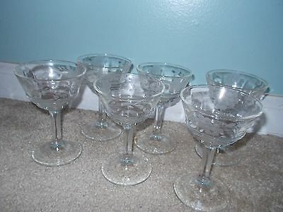 Vintage Crystal Etched Glass Coupe Wine Glasses Stemware (6)