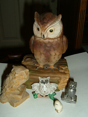 OWLS – Gorham, and Pewter Wise Owl Music Box – Lot of 5 Owls