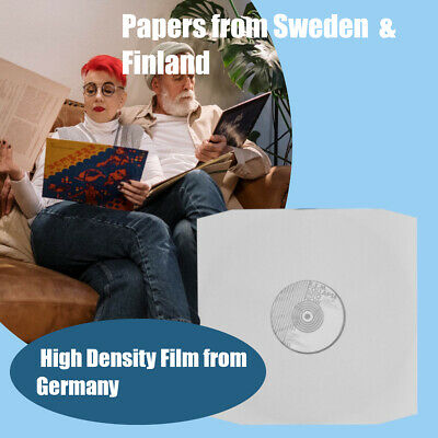 """50 12"""" Inch LP White Paper Poly Lined Inner Record Sleeves 90gr Anti-Static bev"""