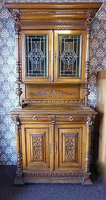 """Antique Hand-carved, Solid Oak French Hunt """"Court"""" Cabinet w/4 Lions. 92""""T. 1880"""
