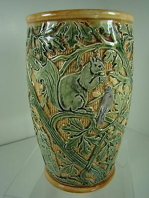 "Weller RARE Selma Knifewood Gorgeous 7"" Vase w/Brown Owls, Squirrels, Blue Birds"