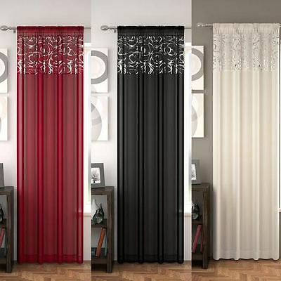 New Single Panel Curtain ARRAN Window Voile Net Slots - Silver/Red/White/Black