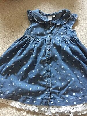 Girls Blue Dress With Flower Pattern 12-18 Month